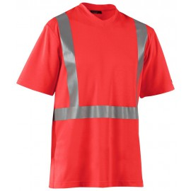 T-Shirt haute visibilité col V anti-UV anti-odeur Rouge fluo 3382 Blaklader