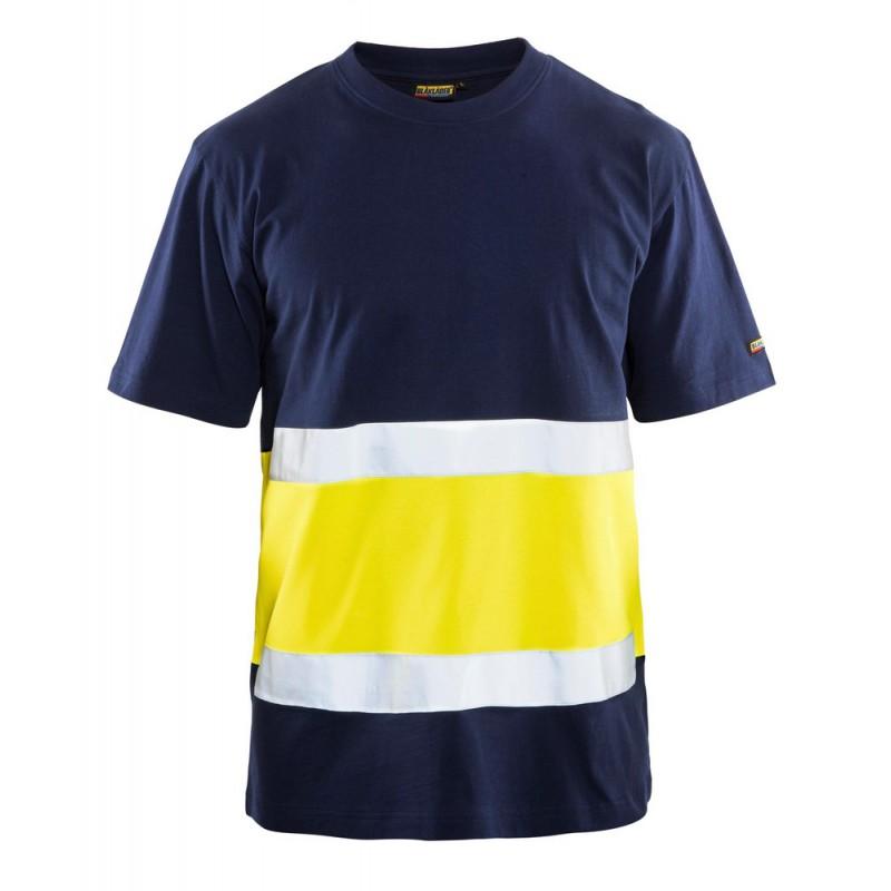 T-shirt haute visibilité col rond Marine/Jaune 3387 Blaklader