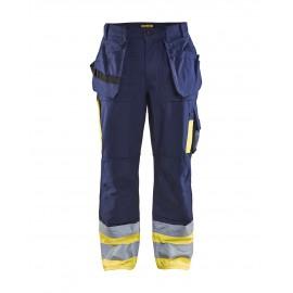 Pantalon Artisan haute visibilité Marine/Jaune 100% coton 1529 Blaklader